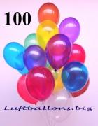 Deko-Luftballons, Kristallfarben, Bunt gemischt, 28-30 cm, 100 Stück