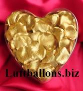 Dekoration zur Hochzeit, Tischdekoration, Herzbox mit 200 Rosenblätter in Gold
