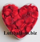 Dekoration zur Hochzeit, Tischdekoration, Herzbox mit 200 Rosenblättern in Rot