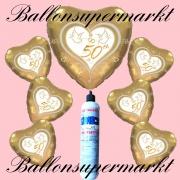 Folienballons zur Goldhochzeit, Zahl 50, mit Hochzeitstauben, inklusive Helium-Einweg-Miniflasche