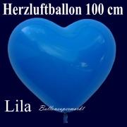 Herzluftballon, Luftballon in Herzform, 1 Stück, Lila, 100 cm