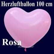 Herzluftballon, Luftballon in Herzform, 1 Stück, Rosa, 100 cm