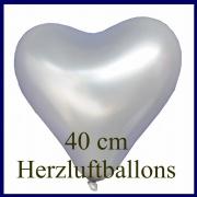 Silberne Herzluftballons, 40 cm, 100 Stück