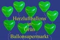Herzluftballons, Herzballone, Luftballons in Herzform, 100 Stück, Grün, 30-33 cm