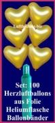 Luftballons Helium Set Hochzeit, 100 goldene Herzluftballons mit Ballongas