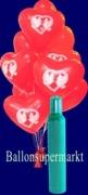 Luftballons Helium Set Hochzeit, 50 rote Herzluftballons / Hochzeitstauben mit Ballongas