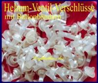 Helium-Ventil-Ballon-Verschlüsse für Latexballons mit Band, 100 Stück