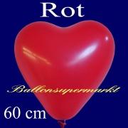 Herzluftballon, Luftballon in Herzform, 1 Stück, Rot, 60 cm