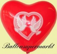 Luftballons Hochzeit, Herzluftballons in Rot, Hochzeitstauben, 10 Stück