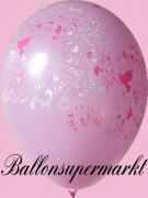 Luftballons Hochzeit, Latexballons in Rosa, Tauben und Herzen, 10 Stück