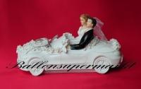 Hochzeitdeko, Tischdekoration zur Hochzeit, Hochzeitspaar im Auto