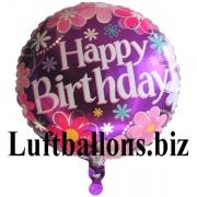 Happy Birthday Blossom, Folien-Rundluftballon mit Helium zum Geburtstag