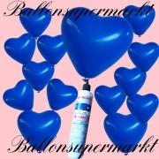 Luftballons Helium Set, Miniflasche, Herzluftballons in Blau