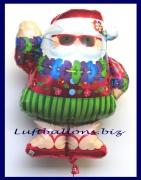 Luftballon Weihnachten, Weihnachtsmann Hula mit Sonnenbrille und Hawaikette