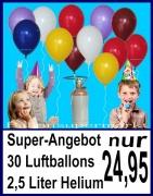 30 Luftballons und Helium-Mehrweg-Flasche mit 2,5 Liter Heliumgas