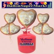 Helium-Set mit Folien-Luftballons, Alles Gute zur Hochzeit, Gold