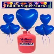 Luftballons Helium Einweg Set, Herzluftballons, blau, 50 Stück