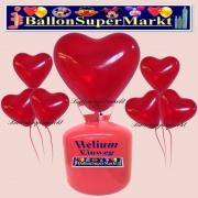 Luftballons Helium Einweg Set, Herzluftballons, kristall-rot, 50 Stück
