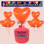 Luftballons Helium Einweg Set, Herzluftballons, orange, 50 Stück