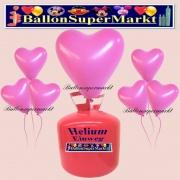 Luftballons Helium Einweg Set, Herzluftballons, rosa, 50 Stück