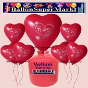 Luftballons Helium Einweg Set, Herzluftballons, rot, Ti Amo, 50 Stück