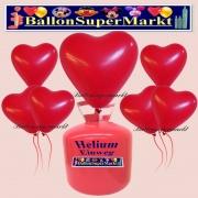 Luftballons Helium Einweg Set, Herzluftballons, rot, 50 Stück