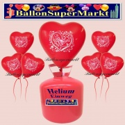 Luftballons Helium Einweg Set, Herzluftballons, rot, Just Married, 50 Stück