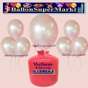 Luftballons Helium Einweg Set, Hochzeit, Just Married Luftballons, Weiß, 30 Stück