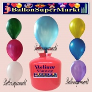 Luftballons Helium Einweg Set, Rundballons, Metallicfarben, Sortiert, 30 Stück