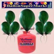 Luftballons Helium Einweg Set, Rundballons, Metallicfarben, Dunkelgrün, 30 Stück