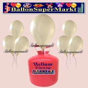 Luftballons Helium Einweg Set, Rundballons, Metallicfarben, Elfenbein, 30 Stück