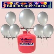 Luftballons Helium Einweg Set, Rundballons, Metallicfarben, Silber, 30 Stück