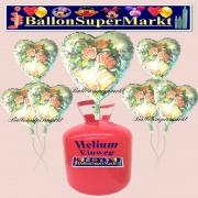 Helium-Set mit Folien-Luftballons, Wedding Wishes, Blumen und Hochzeitsglocken