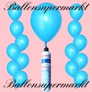 Luftballons Helium Set, Miniflasche, Latex-Luftballons in Himmelblau