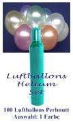 Luftballons Helium Set, 100 bunte Perlmutt-Latex-Luftballons Farbauswahl, mit Ballongas