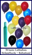 Luftballons Helium Set, 50 bunte Latex-Luftballons mit Ballongas