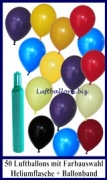 Luftballons Helium Set, 50 Latex-Luftballons, Farbauswahl, mit Ballongas