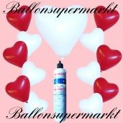 Luftballons Helium Set, Miniflasche, Herzluftballons in Rot und Weiß