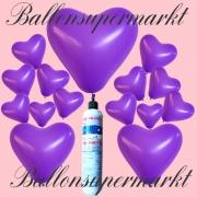 Luftballons Helium Set, Miniflasche, Herzluftballons in Lila