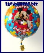 Happy Birthday Musikballon, Folien-Luftballon mit Micky Maus, singender Ballon