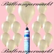 Luftballons mit Mini-Heliumflasche, Ballons in metallischen Farben, Elfenbein