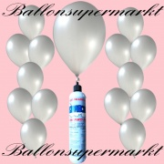 Luftballons mit Mini-Heliumflasche, Ballons in metallischen Farben, Silber