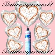 Folienballons zur Silberhochzeit, Zahl 25 mit Hochzeitstauben, inklusive Helium-Einweg-Miniflasche
