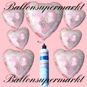 Folienballons zur Hochzeit, Wedding Wishes, Pink, inklusive Helium-Einweg-Miniflasche