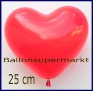 Herzluftballons Rot, 25 cm, Premium-Qualität, 50 Stück