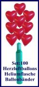 Luftballons Helium Set Hochzeit, 100 rote Herzluftballons mit Ballongas