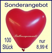 100 rote Herzluftballons