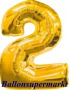 Zahlen-Luftballon Gold, Zahl 2