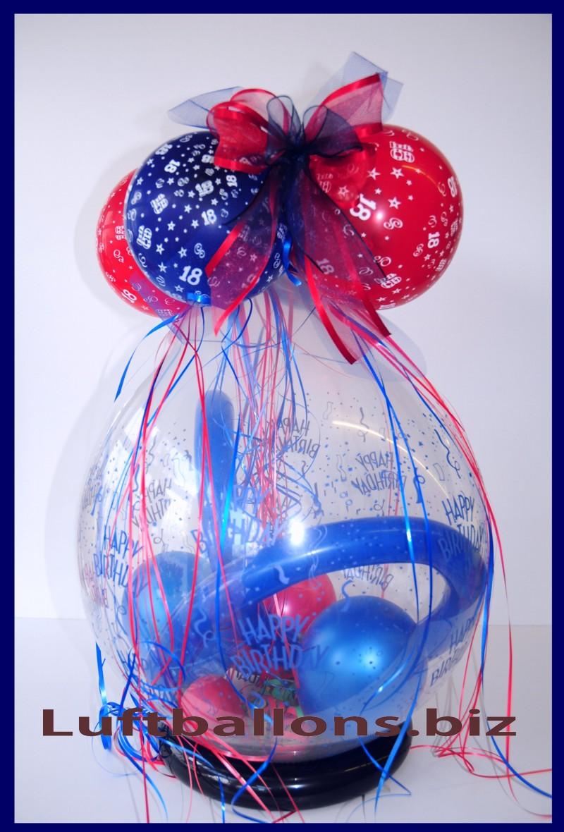verpackungsballon geschenkballon zum 18 geburtstag lu. Black Bedroom Furniture Sets. Home Design Ideas