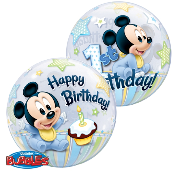 bubble luftballon micky maus baby happy 1st birthday inklusive helium lu bubble luftballon. Black Bedroom Furniture Sets. Home Design Ideas